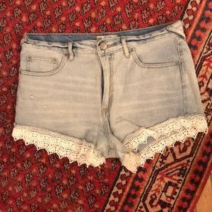Free People Lace Hem High Waisted Jean Shorts